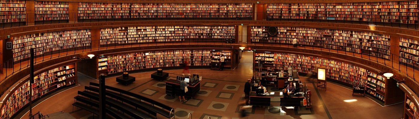 books in a huge circular library english page