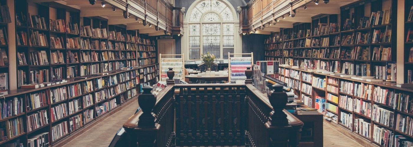 english books in a beautiful library