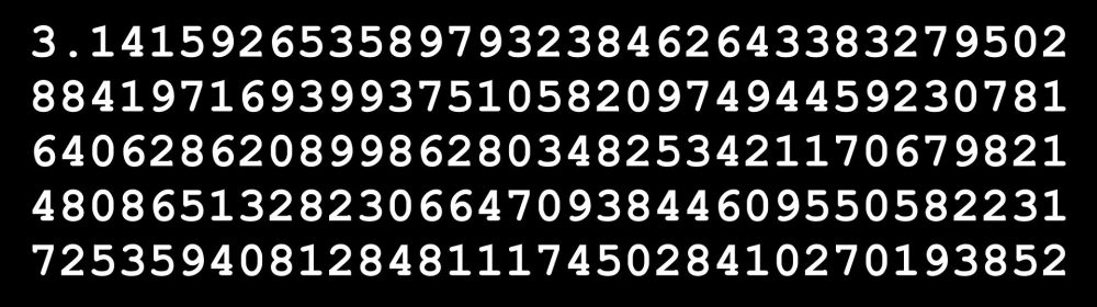 pi to lots of decimal places