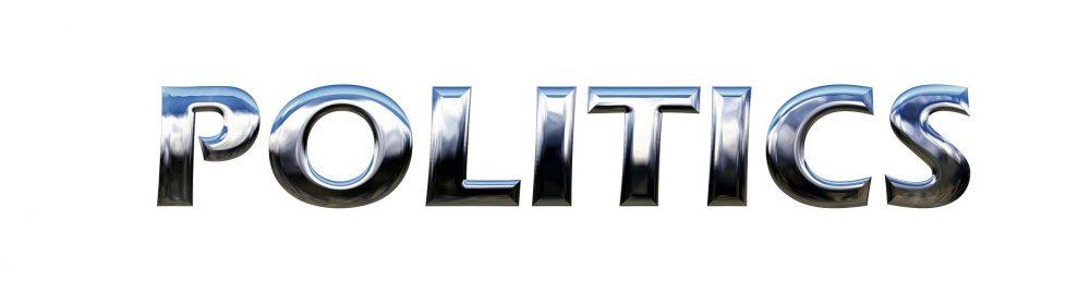 the word politics in silver metallic writing