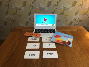 literacy flashcards on table next to computer