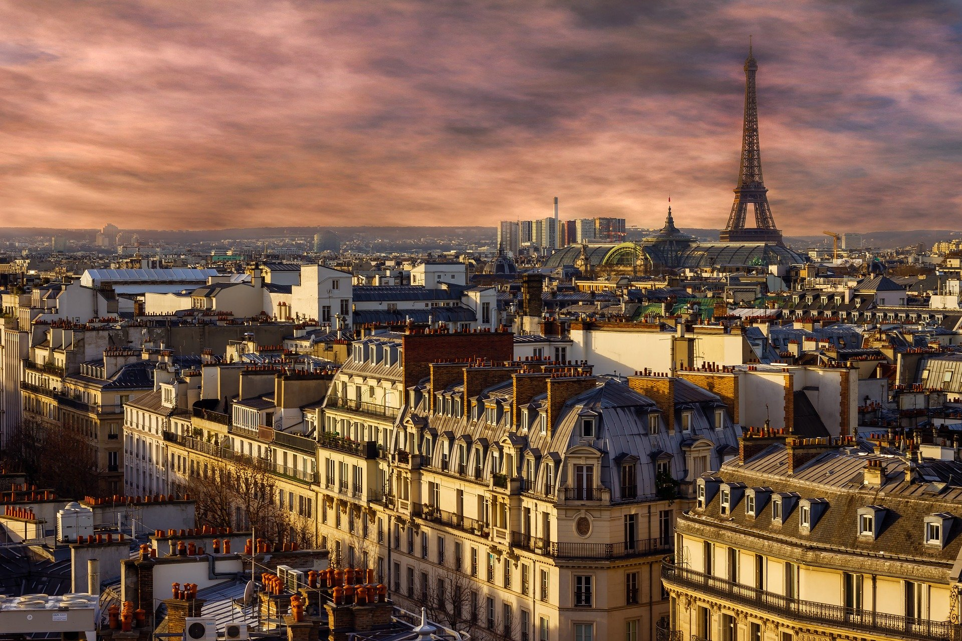 view of french paris with a cloudy sky